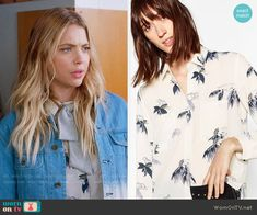 Hanna's printed shirt and ombre denim jacket on Pretty Little Liars Pll Outfits, Tv Show Outfits, Fashion Tv, Fashion Outfits, Fall Fashion, Fashion Ideas, Boyfriend Jean Jacket, Pretty Little Liars Fashion, Balayage Hair