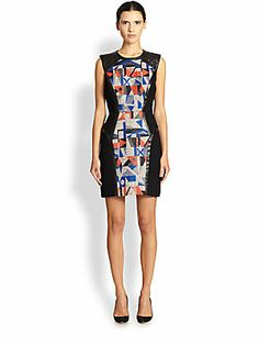 "MILLY Studded Leather-Panel Sheath Dress.  I assume it's less of a mini when you're not 5'11"" like the model"