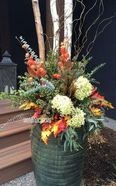 22 Beautiful Fall Planters for Easy Outdoor Fall Decorations 22 gorgeous fall planters for Thanksgiving & fall decorations: best fall flowers for pots, & great autumn planter ideas with mums, pumpkins, kale, & more! - A Piece of Rainbow Fall Flower Pots, Fall Flowers, Colorful Flowers, Fall Planters, Autumn Planter Ideas, Outdoor Planters, Mums In Planters, Fall Potted Plants, Indoor Outdoor