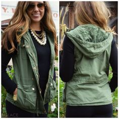 Bear Hug Olive Hooded Faux Fur Lined Vest | Amazing Lace (Olive size XL)