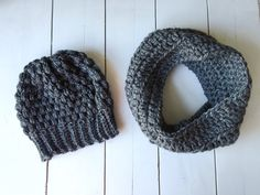 Holiday Set Kids Gray Beanie and Infinity by ChucksForChancho