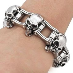 Mens Motorcycle Chain Stainless Steel Biker Skull by MakeCharms, $31.99