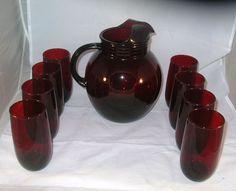 Anchor Hocking Royal Ruby 9 PC Water Set Depression Glass Upright Ball Pitcher   eBay