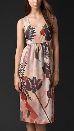 Burberry Prorsum Floral Print Silk Cotton Shift Dress