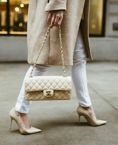 Nude Chanel Bag, Nude Pumps, White Denim, Spring Style
