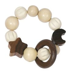 Heimess 734930 Wooden Elasticated Touch Ring Rattle (Moon and Stars) Little Jane, Wooden Baby Toys, Baby Rattle, Wooden Rings, Toy Sale, Cool Baby Stuff, Stars And Moon, Different Colors, Barn