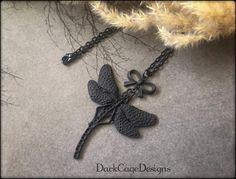 Noir/ Black/ Victorian/ Gothic/ Dark Mori/ Filigree Dragonfly Necklace by DarkCageDesigns on Etsy