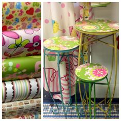 Hailee and Diane decoupaged these plant stands here at Periwinkle. Just trace, cut, and Mod Podge down. All three used just one sheet of wrapping paper.