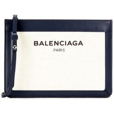 Balenciaga Navy Pochette S Leather and Canvas Shoulder Bag ($865) ❤ liked on Polyvore featuring bags, handbags, shoulder bags, beige, white leather handbags, canvas handbags, navy blue leather handbags, leather handbags and genuine leather shoulder bag