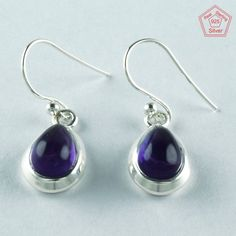 CABOCHON AMETHYST STONE 925 STERLING SILVER EARRING ER5570 #SilvexImagesIndiaPvtLtd #DropDangle