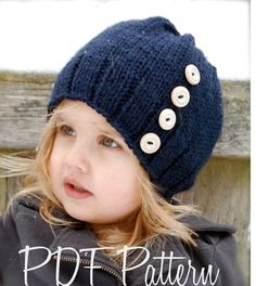 Knitting PATTERN-The Hudson Hat Toddler Child por Thevelvetacorn