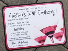 Cosmopolitan Sex and the City Style Invitation -- Perfect for birthdays or bachelorette parties by atouchofsunshine1 on Etsy, $3.00