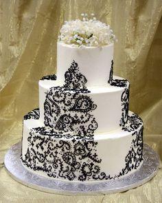 Black and white paisley wedding cake!!