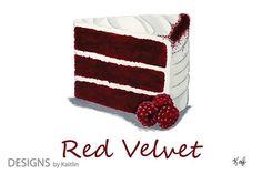 Red Velvet Cake Dessert 5x7 Print from Acrylic Painting