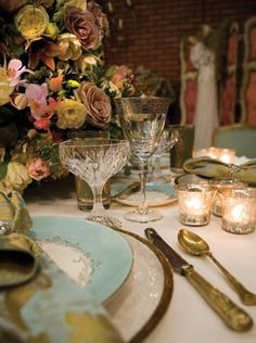 Romantic feminine table setting