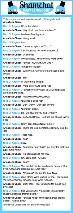 A conversation between Annabeth Chase and Nico Di Angelo