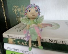 Fairy doll, handmade miniature fairy, polymer clay collectable art doll, pastel colours, spotty dress