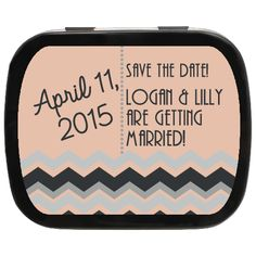 "Great Gatsby Inspired ""Zig Zag"" Save the Date Personalized Mint Tins, choice of candy and personalization! Personalized Wedding Favors, Unique Wedding Favors, Wedding Party Favors, Engagement Favors, Edible Favors, Mint Tins, Gatsby Theme, Zig Zag, Special Day"