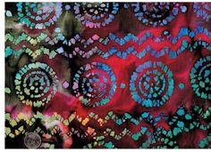 1/2 Yard Hippie Daze Batik Quilt Fabric India Quilt Fabric Tie Dye
