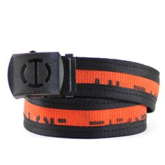 Decommissioned Fire Hose This unique black + orange belt is crafted from a decommissioned fire hose. The hoses used to make this line of belts come from a variety of fire departments across the United
