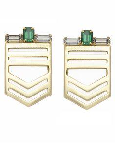 Jené DeSpain Green Crystal Deco Earrings