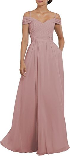 a8f92a3a5c65 Women's Off The Shoulder Pleated Chiffon Formal Evening Gown Long  Bridesmaid Dress With Pockets Size 2 Blush Pink -- More info could be found  at the image ...