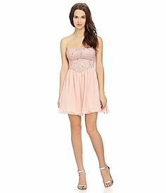 1b0b7b89a8f B Darlin Strapless Lace Chiffon Dress  Dillards MARIA MARIA MARIA