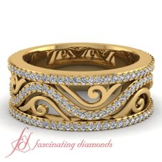 Round Diamonds 14K Yellow Gold Wedding Band in Prong Setting || Filigree Framed Band
