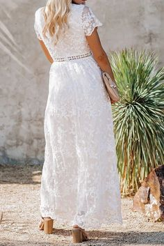 Chic White V Neck Short Sleeve Lace Maxi Dress, Shop for cheap Chic White V Neck Short Sleeve Lace Maxi Dress online? Buy at Modeshe.com on sale!