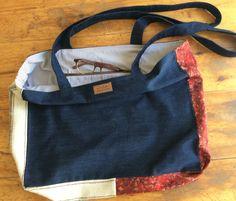 Hand-loomed fabric, upholstery scraps with denim, cotton lining, 60 euros Your Boyfriend, Boyfriend Jeans, Denim Cotton, Gym Bag, Upholstery, Fabric, Bags, Fashion, Tejido
