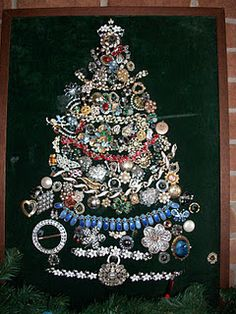 Old Jewerly used to make a Xmas tree on velvet, my aunt made this with her mother's and grandmother's old jewerly, great way to remember them by and to decorate your house!