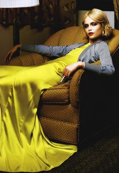 Natasha Poly - Vogue Italia, yellow dress and grey cardigan sweater (=)
