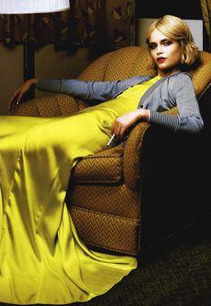 Natasha Poly - Vogue Italia, yellow dress and grey cardigan sweater (=)