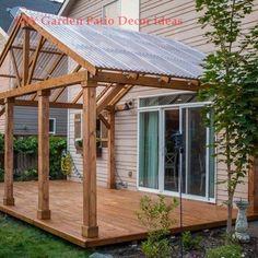 DIY: Turning a cement veranda into a wooden deck - Wood Design DIY: Turning .DIY: Turning a cement veranda into a wooden deck - Wood Design DIY: Turning a cement veranda into a wooden deck Diy Pergola, Patio Gazebo, Deck With Pergola, Diy Deck, Backyard Patio, Pergola Ideas, Roof Ideas, Patio Roof, Modern Pergola