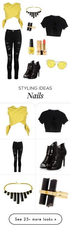 """#croptop #rippedjeans #yellow #black"" by ladyasdis on Polyvore featuring MSGM, Dorothy Perkins, House of Harlow 1960, Blue Les Copains, OPI and Yves Saint Laurent"