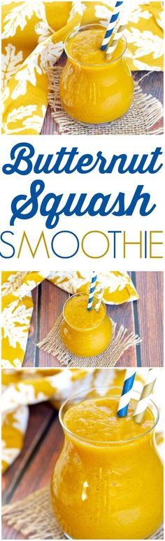 DRINK your vegetables with this Butternut Squash Smoothie recipe! There is a delicious, healthy smoothie that is filled with fall flavors!  There's so much nutrition in that glass, too. Perfectly spiced, and sweetened with dates and maple syrup. So good!!