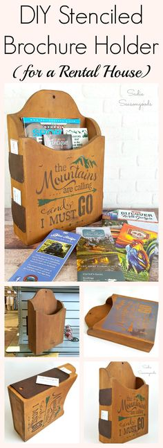 Vintage wooden magazine holder repurposed into mountain themed brochure holder for rental cabin in Blue Ridge, Georgia by Sadie Seasongoods / www.sadieseasongoods.com