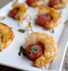 Entrée brochettes de crevettes au chorizo