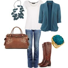 I just wore this the other day!!! Love the teal and brown!!!  My pininterest inspired outfit!!