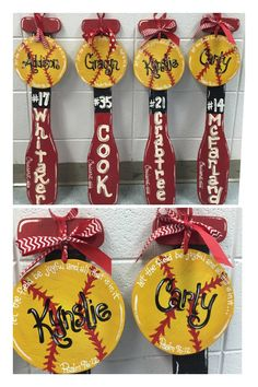 I painted these softball and bat door hangers for a little leave softball team. Softball Decorations, Softball Crafts, Locker Decorations, Softball Stuff, Softball Team Gifts, Cheerleading Gifts, Basketball Gifts, Baseball Signs, Baseball Wreaths