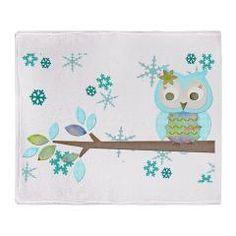 Winter Snowflake Owl Blanket