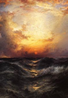"""Thomas Moran (1837-1926, US) ~ """"sunset in Mid Ocean"""", 1904 (Détail) ~ Oil on Canvas ~ Collection Privée"""