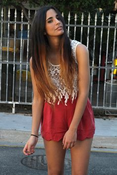 lace top scalloped shorts