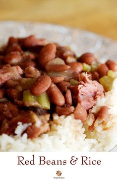 Red Beans and Rice ~ A spin on a Southern classic, red beans cooked with smoked shanks, onions, celery, bell peppers, and spices, served over rice. Perfect for Mardi Gras! ~ SimplyRecipes.com
