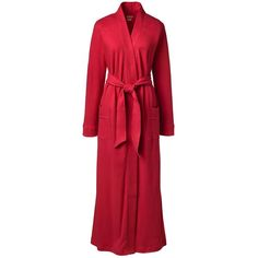 Lands' End Women's Plus Size Cotton Robe ($45) ❤ liked on Polyvore featuring plus size women's fashion, plus size clothing, plus size intimates, plus size robes, red, dressing gown, plus size bath robe, full length cotton robe and cotton robe