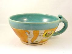 Blue Ceramic Soup bowl with handle / handmade by BlueSkyPotteryCO, $40.00