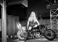"""Brigitte Bardot on one Harley Davidson and Serge Gainsbourg for the direction of his song """"Harley Davidson"""" during the broadcast Show realized by Francois Reichenbach. Photos by Jean Adda. Bridget Bardot, Bardot Brigitte, Serge Gainsbourg, Brigitte Bardot Harley Davidson, Roger Vivier, Lady Diana, Twiggy, Motos Vintage, Vintage Bikes"""