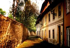 """Hidden places in Prague Castle area. Just steps away from main route Strahov Monastery you can find a charming quarter called """" New World""""/ Hidden Places, Oh The Places You'll Go, Prague Czech Republic, Prague Castle, Hidden Treasures, Fantasy Series, Explore, Street, City"""
