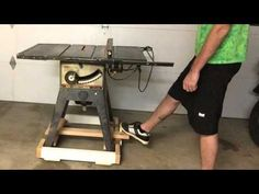Retractable caster base for a table saw - YouTube
