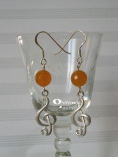 Orecchini AG925 - chiave di violino grande e agata arancio